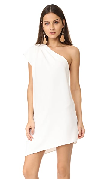 alice + olivia Melina One Shoulder Asymmetric Dress - Off White