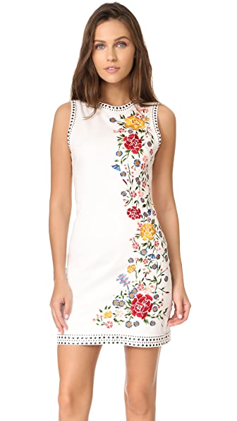 alice + olivia Nat Embroidered Dress - Cream Multi