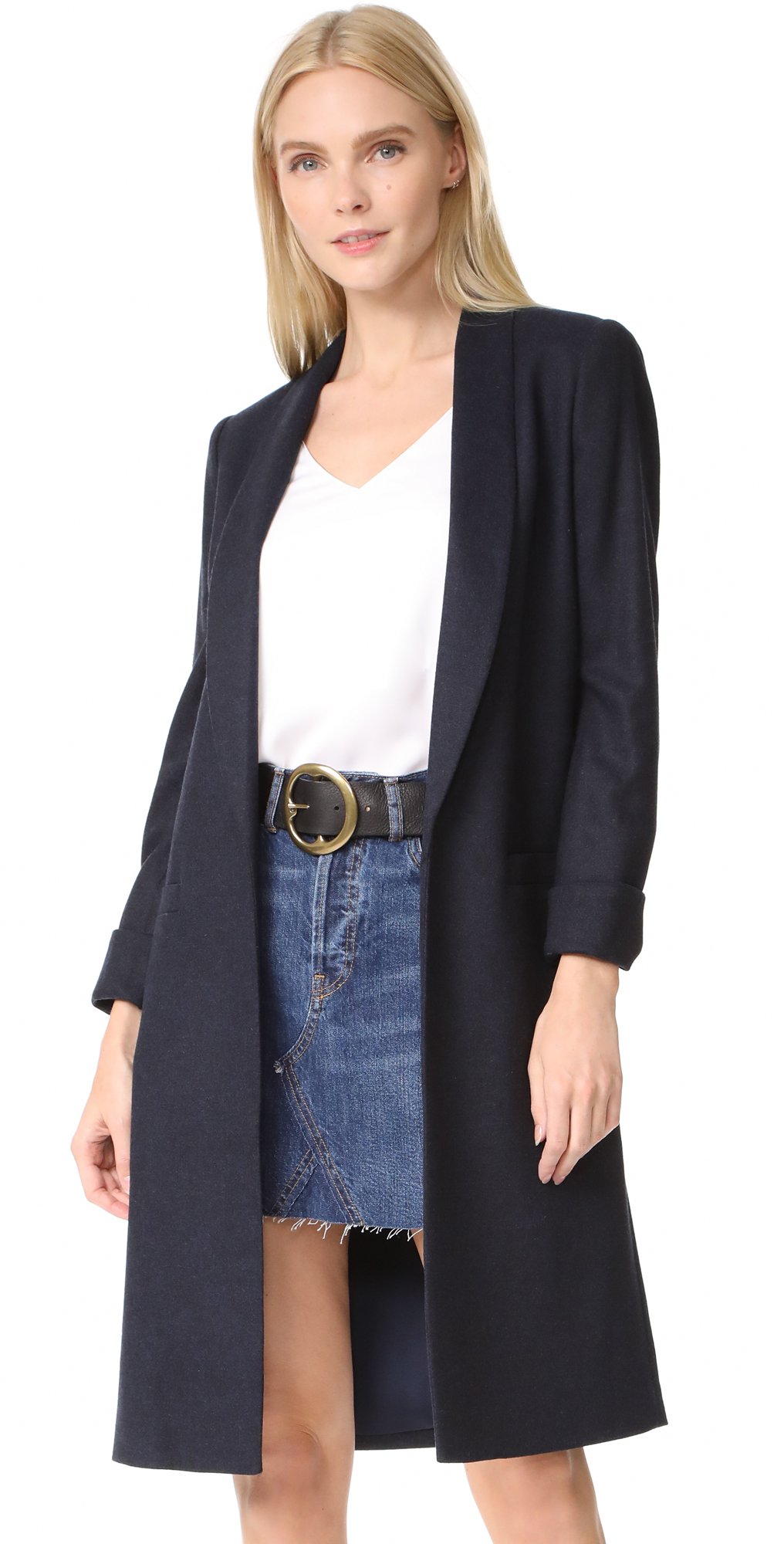 Kylie Long Shawl Collar Jacket alice   olivia