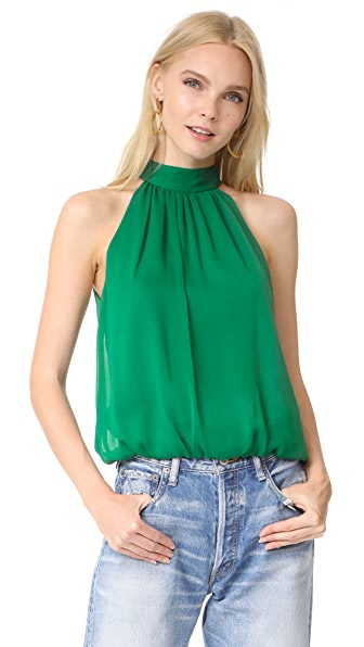 alice + olivia Maris Gathered Halter Top - Ivy