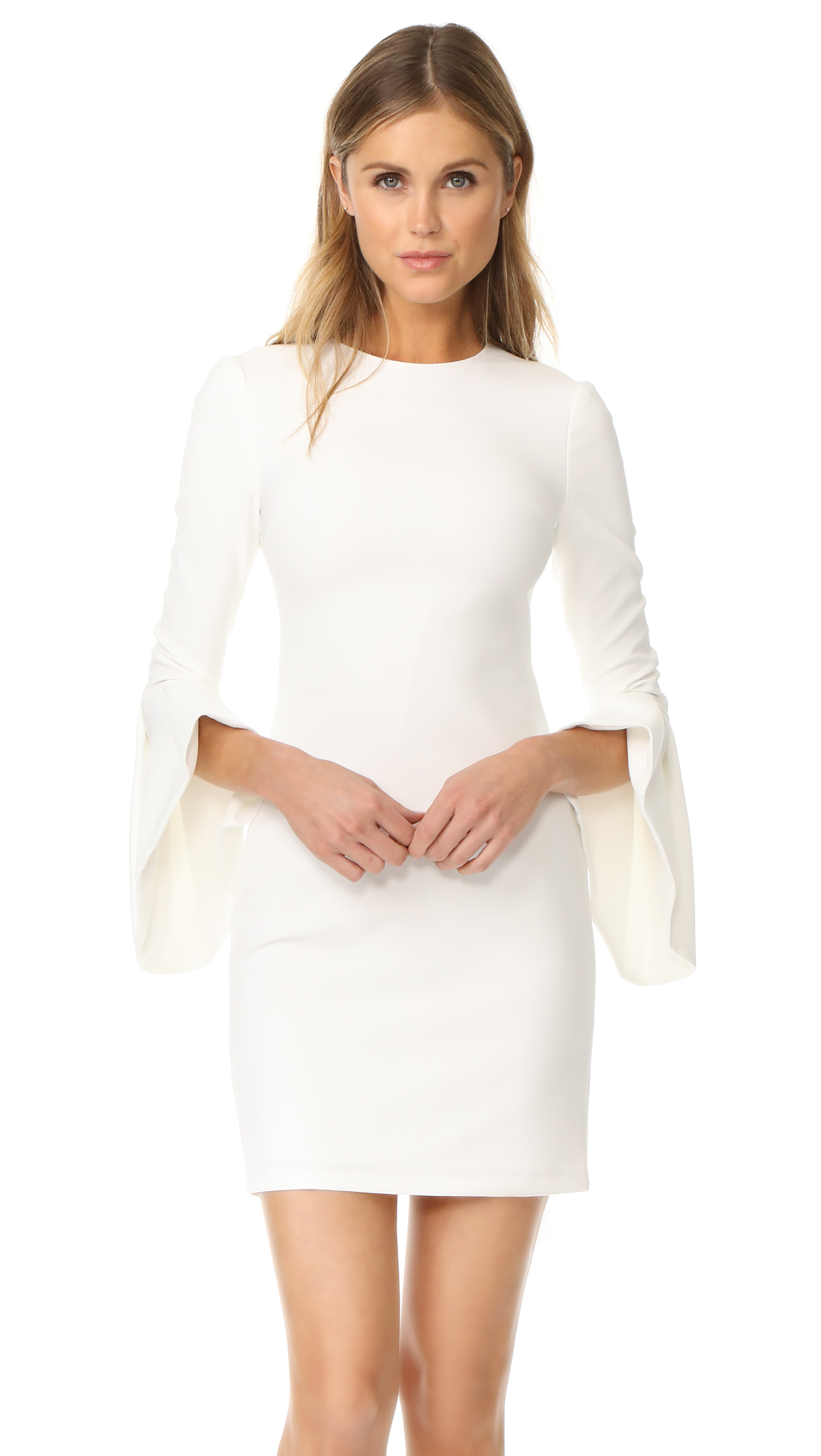 alice + olivia Dora Bell Sleeve Dress - Off White