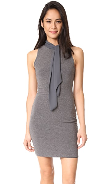 alice + olivia Mary Fitted Dress with Neck Tie - Charcoal