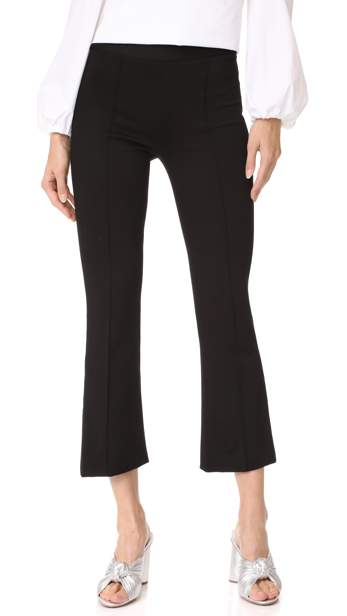 alice + olivia Michiko Front Pintuck Flared Pants - Black