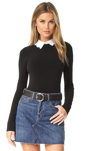 alice + olivia Becker Optional Collar Bodysuit In Black/White