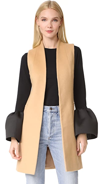 alice + olivia Flynn Seamed Vest In Light Camel