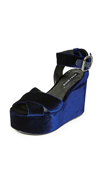 alice + olivia Violet Velvet Wedges In Navy