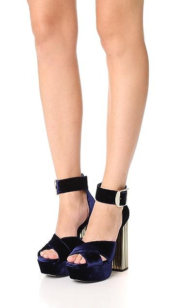 alice + olivia Lianna Velvet Platform Sandals