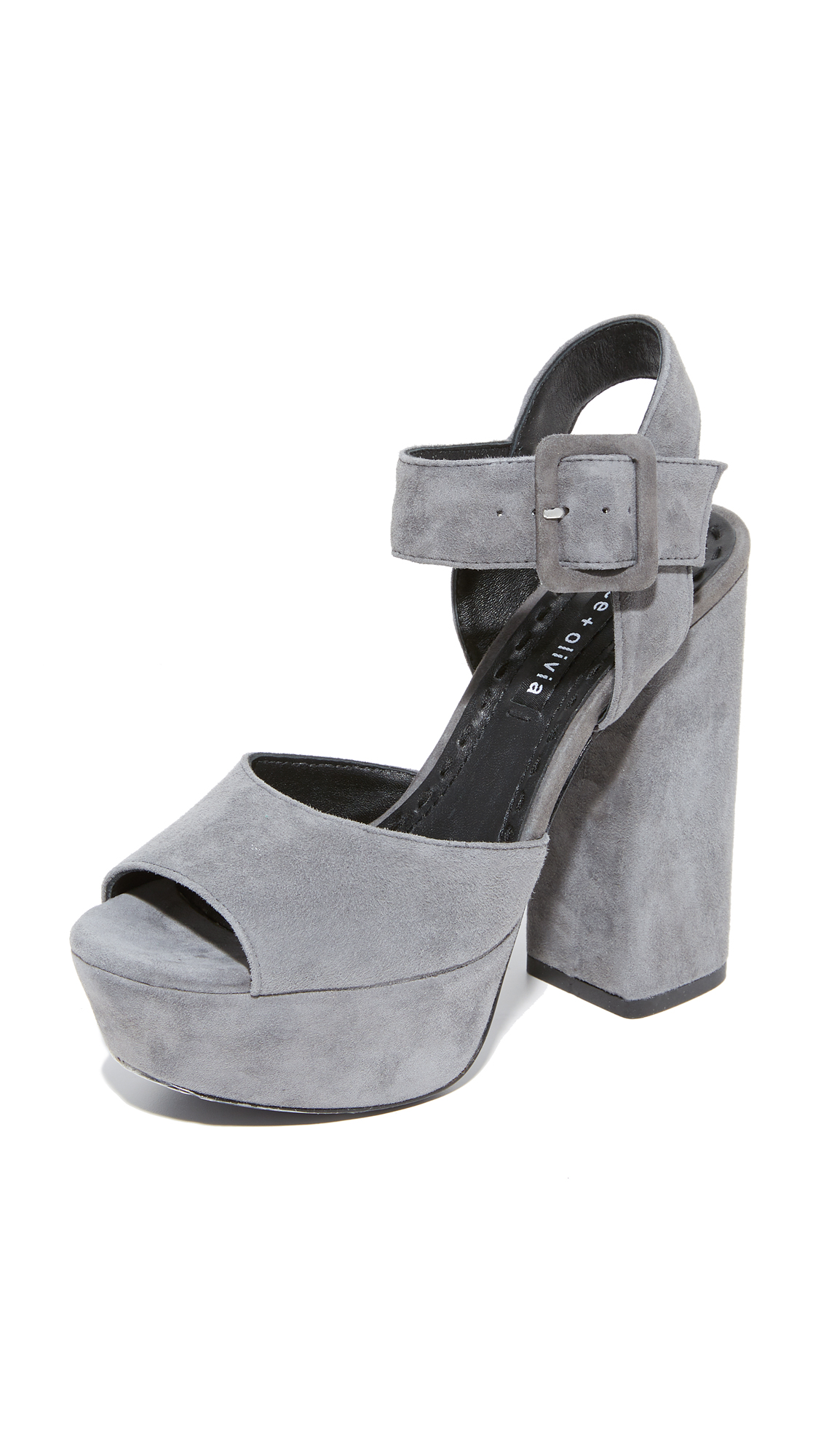 alice + olivia Lily Suede Platform Sandals - Charcoal