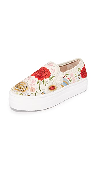 alice + olivia Sasha Floral Embroidered Slip On Sneakers In Cream