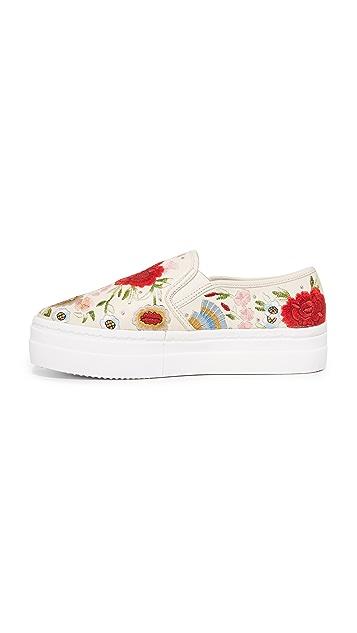 alice + olivia Sasha Floral Embroidered Slip On Sneakers