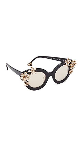 alice + olivia Madison Floral Sunglasses - Black Clear/Grey