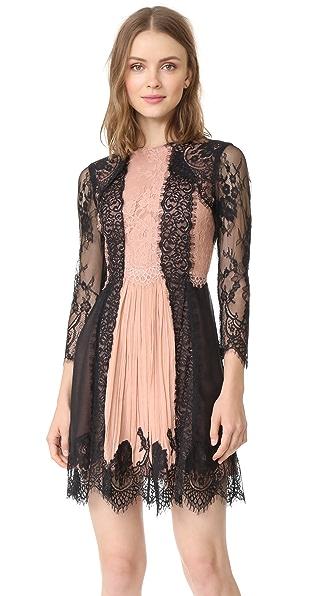 alice + olivia Kaylen Lace 3/4 Sleeve Dress In Black/Rose Tan