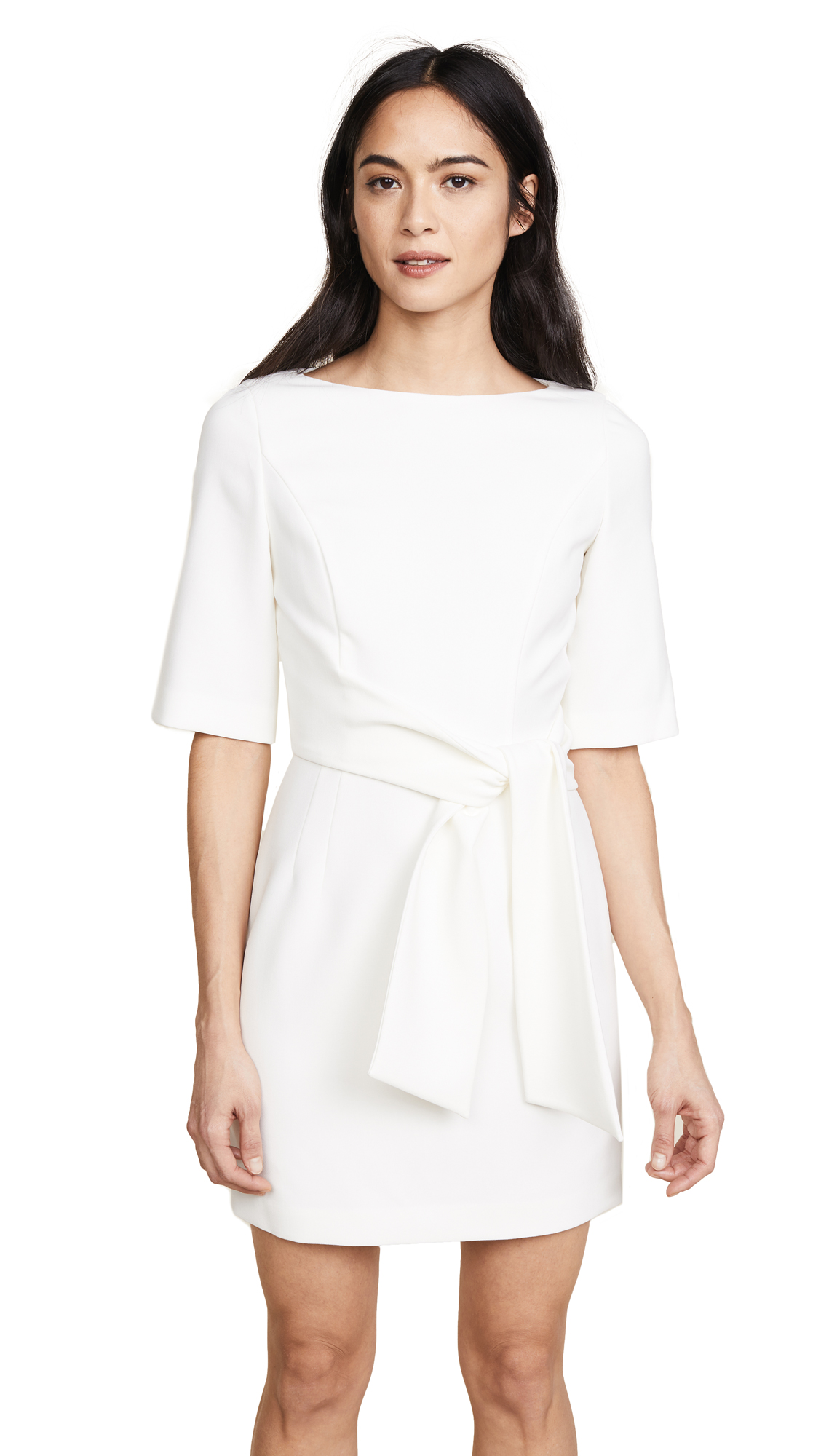 alice + olivia Virgil Boat Neck Wrap Dress - Off White
