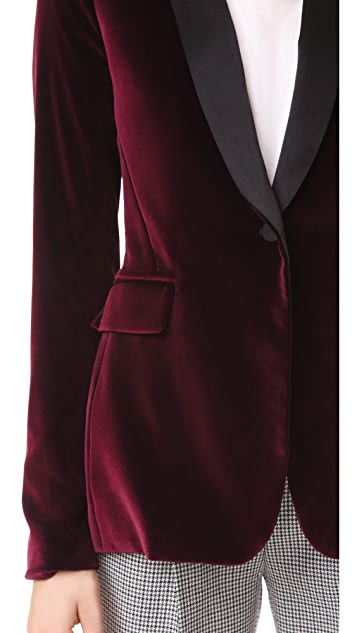 alice + olivia Macey Fitted Velvet Tuxedo Jacket