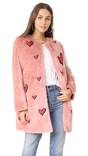 alice + olivia Madge Embroidered Faux Fur Coat - Pink/Deep Ruby
