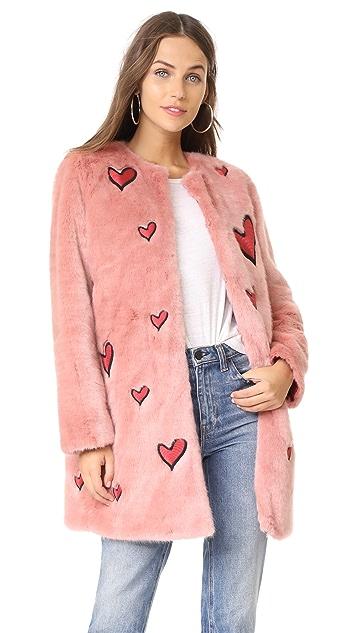 alice + olivia Madge Embroidered Faux Fur Coat
