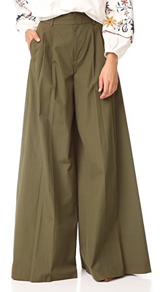 alice + olivia Dustin Super Flare Pants In Army