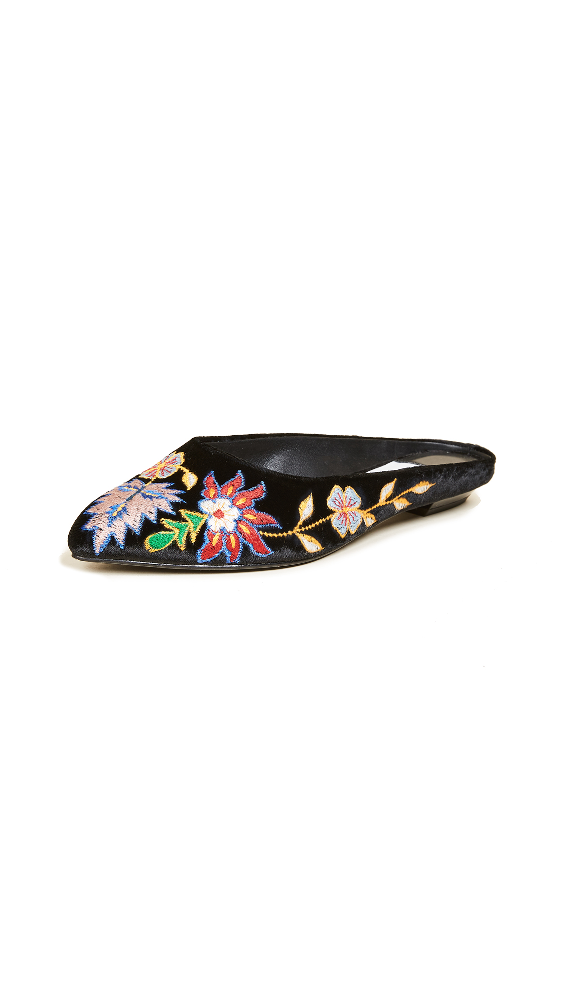 alice + olivia Abbey Embroidered Mules - Multi/Black