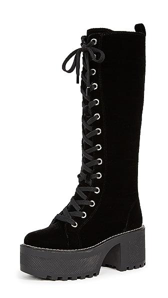 Woman Lace-Up Velvet Platform Knee Boots Black
