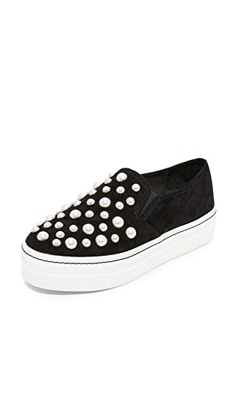 alice + olivia Sasha Pearls Slip On Sneakers - Black