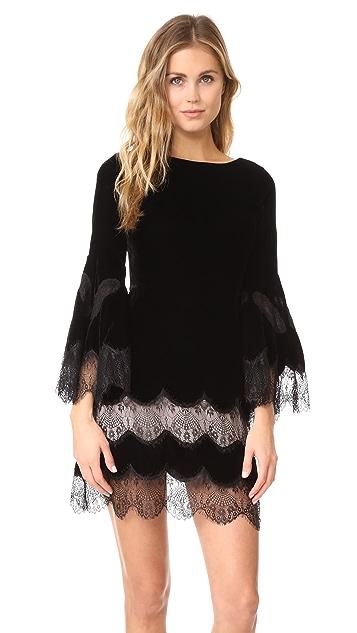 alice + olivia Leann Bell Sleeve Velvet Tunic Dress