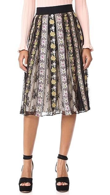 alice + olivia Birdie Embroidered Skirt