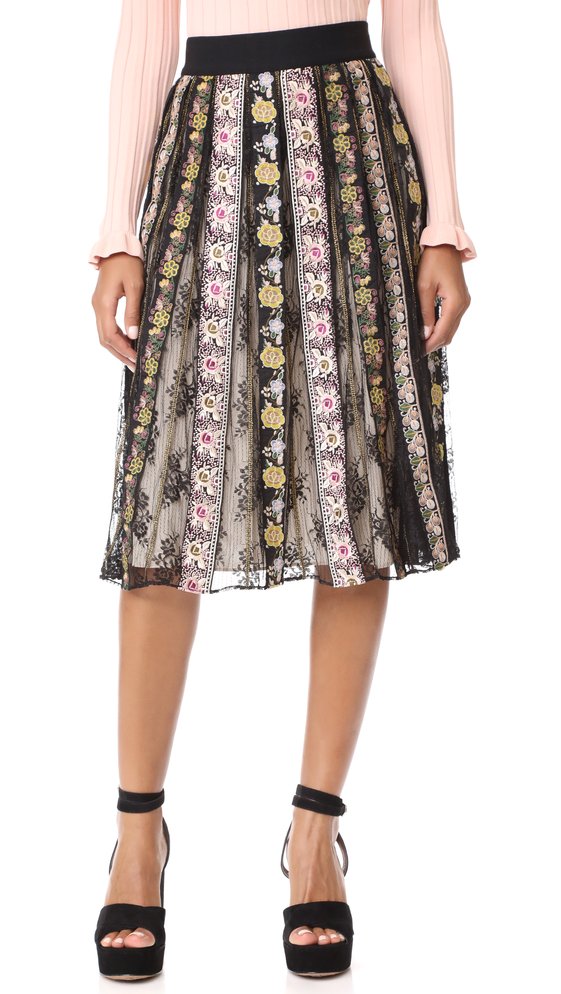 alice + olivia Birdie Embroidered Skirt - Black/Multi