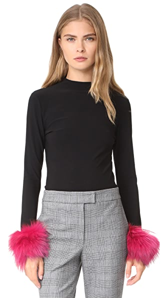 alice + olivia Haylen Top with Fur Cuffs - Black/Wine