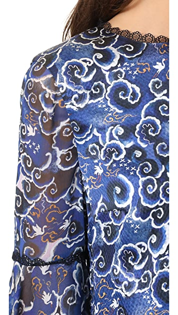 alice + olivia Levine Lace Hem Bell Sleeve Blouse