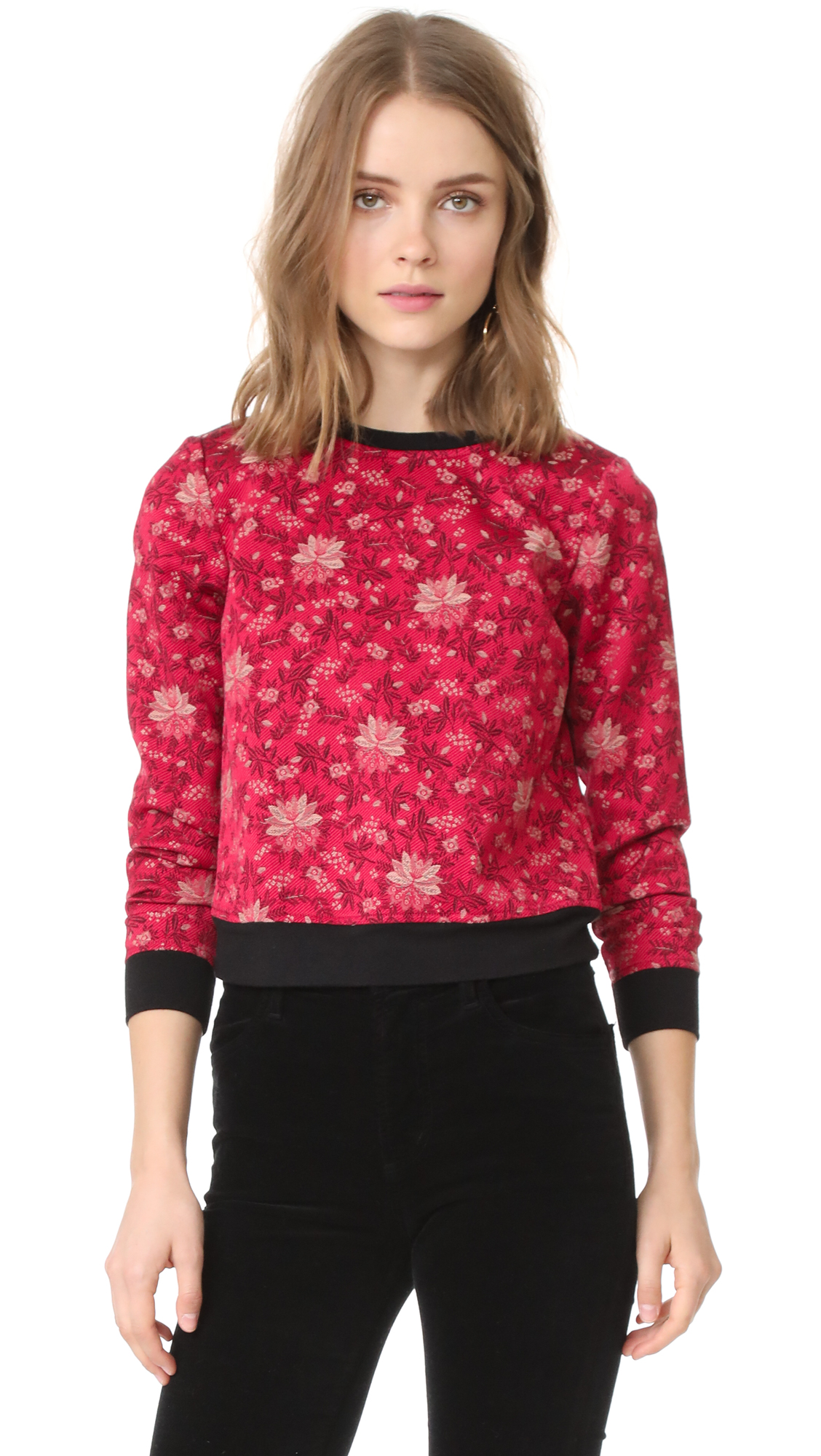 alice + olivia Marylou Back Zip Sweatshirt - Fuchsia