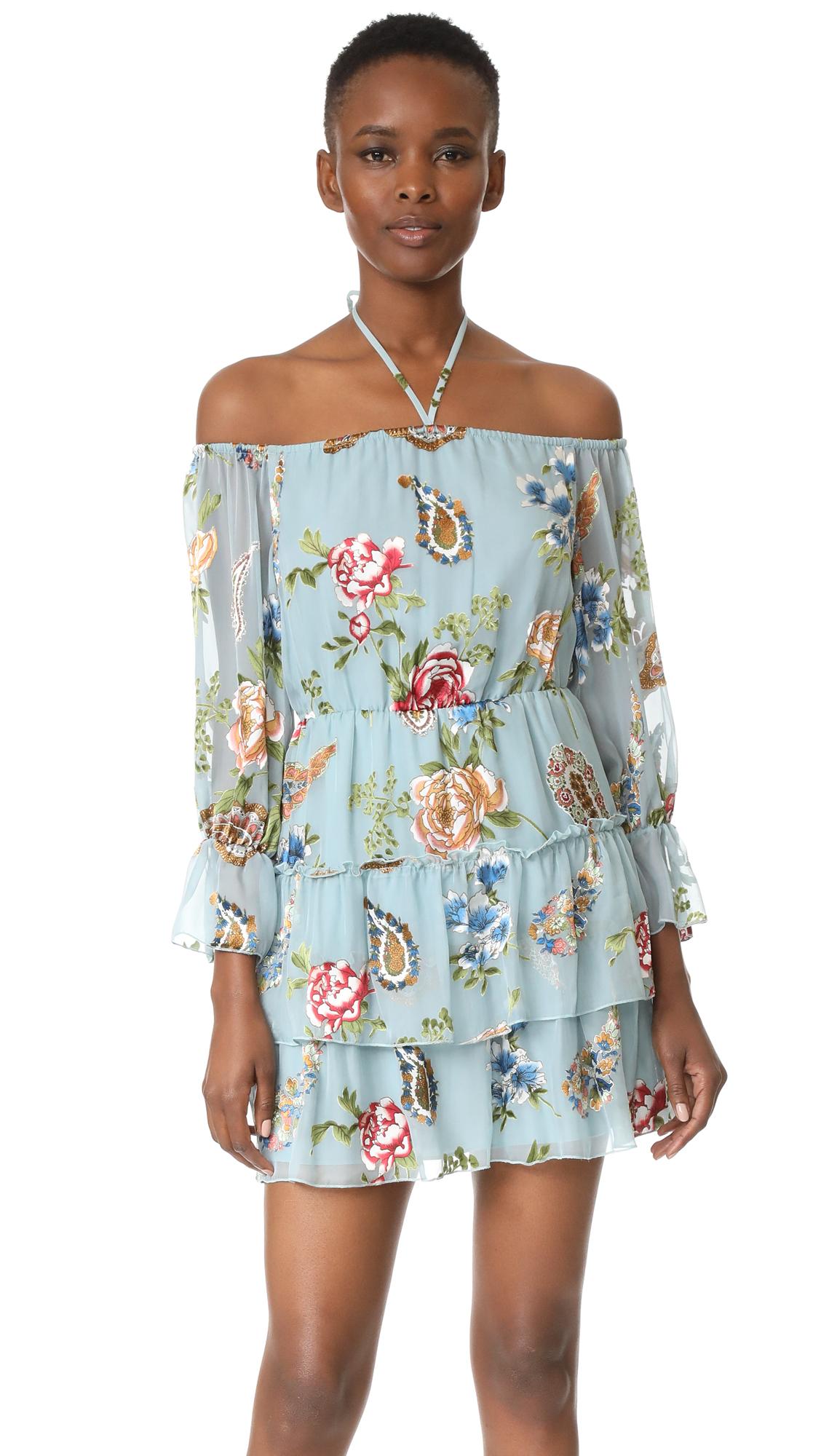 alice + olivia Waylon Blouson Sleeve Dress - Icy Aqua/Multi