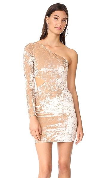 alice + olivia Malia Velvet Single Sleeve Mini Dress - Natural