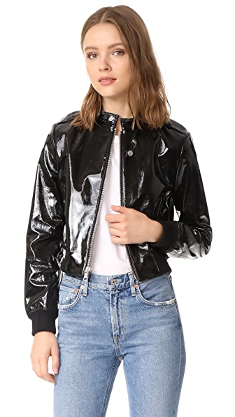 alice + olivia Nixon Patent Leather Jacket - Black