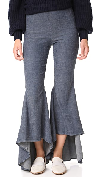 alice + olivia Jinny High Low Flare Pants - Dark Chambray
