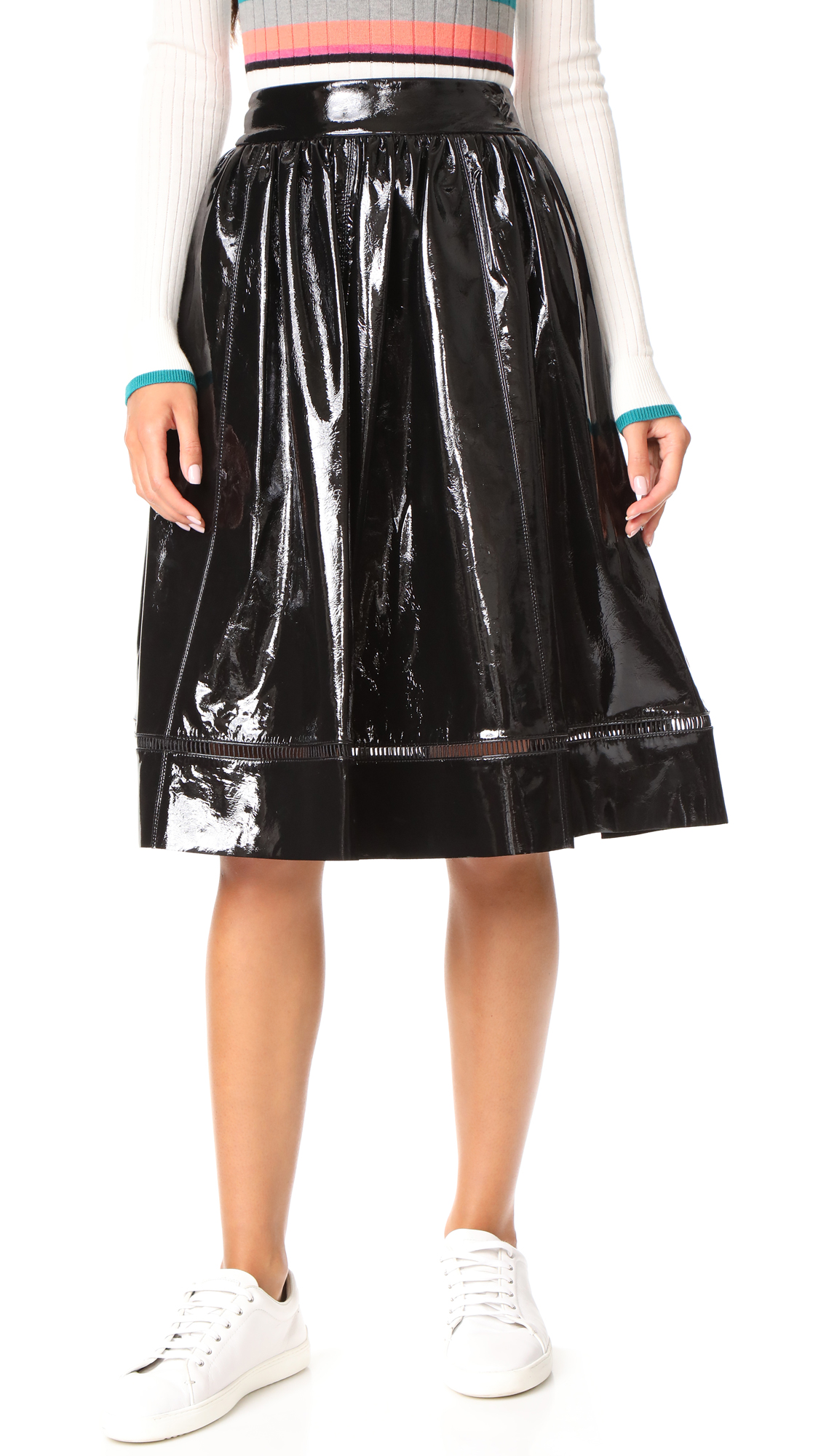 alice + olivia Misty Patent Leather Skirt - Black