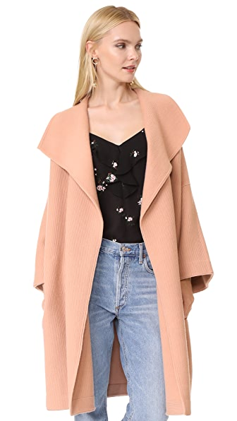alice + olivia Hester Boxy Wide Sleeve Cardigan Coat In Rose Tan
