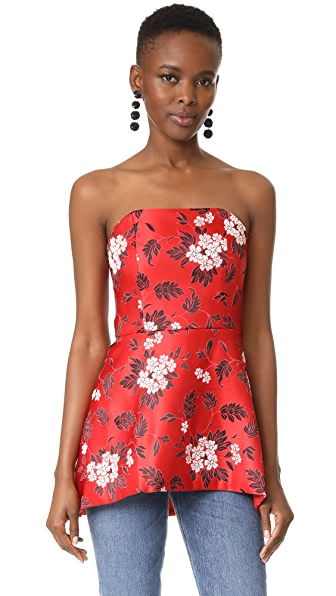 alice + olivia Duncan Strapless High Low Peplum Top In Ruby/Multi