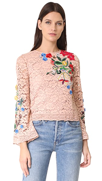 alice + olivia Pasha Embroidered Bell Sleeve Top - Dusty Blush Multi