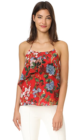 alice + olivia Marybeth Tie Neck Ruffle Top In Chinoiserie Garden