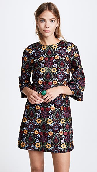 alice + olivia Coley Bell Sleeve Dress - Black Multi