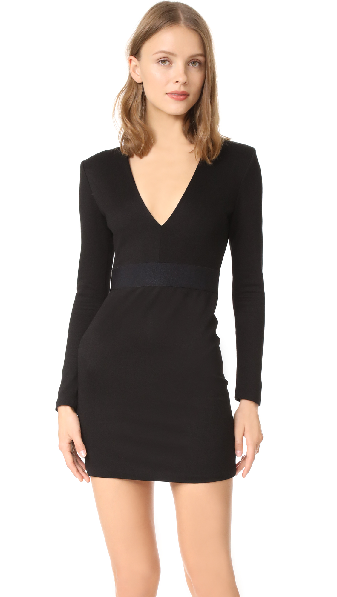 alice + olivia Simone Deep V Strong Shoulder Dress - Black