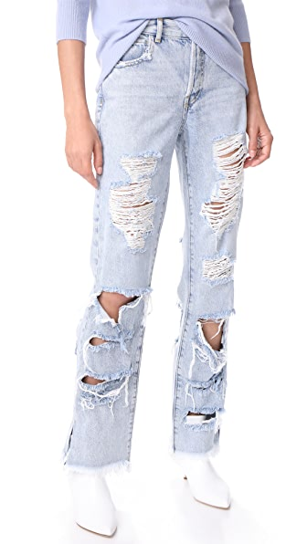 alice + olivia Genevive Extreme Distressed Jeans
