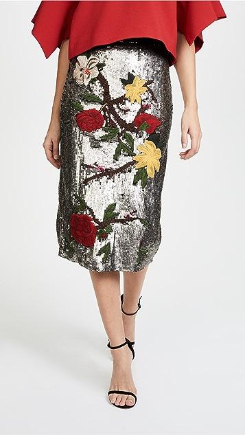 alice + olivia Ella Embellished Sequin Midi Skirt