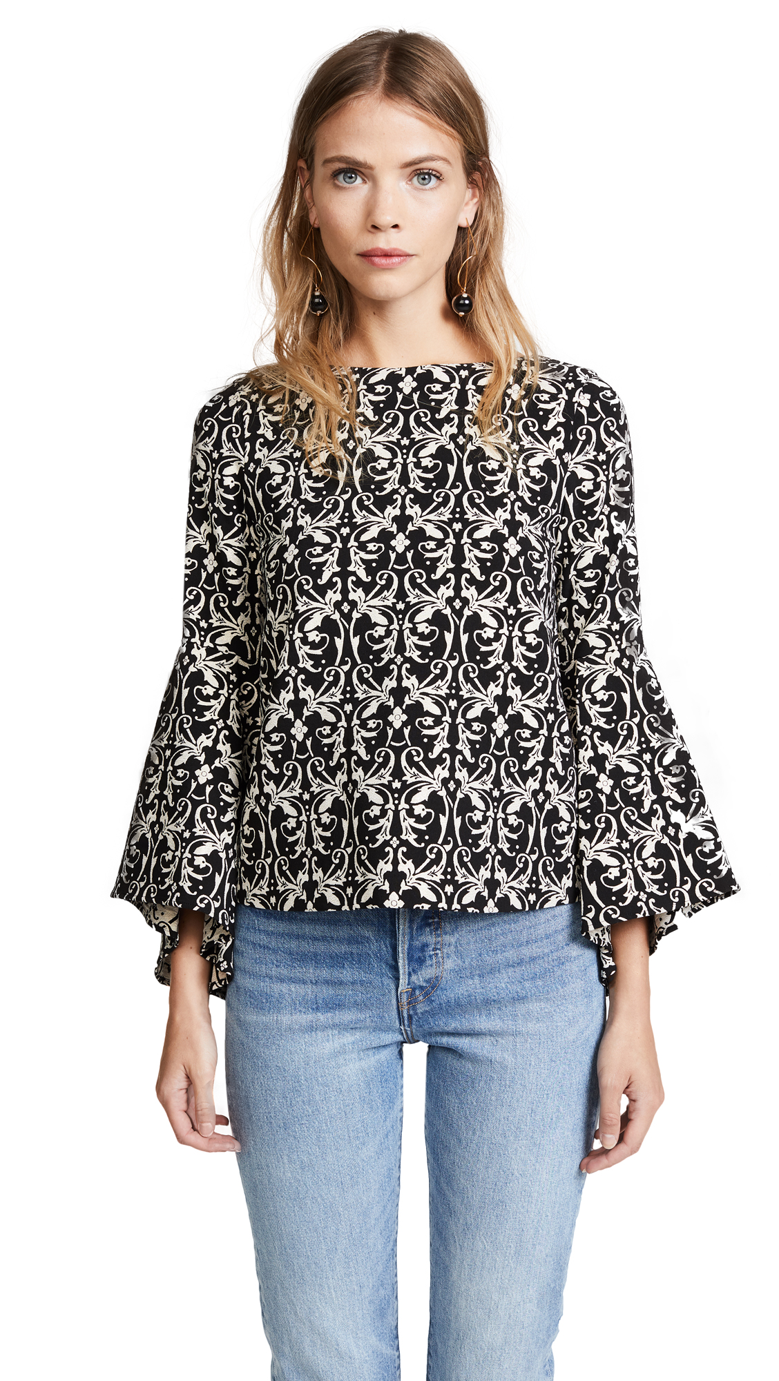 alice + olivia Baska Trumpet Sleeve Blouse - Black/Cream