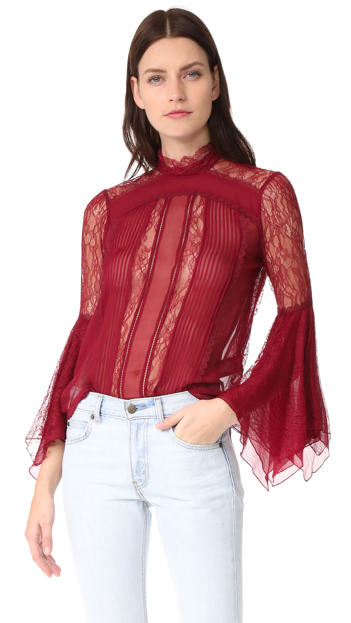 alice + olivia Ivy Handkerchief Sleeve Top - Bordeaux