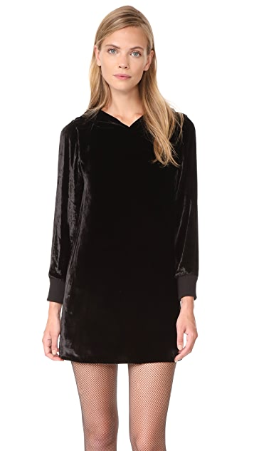 alice + olivia Barron Hooded Velvet Dress
