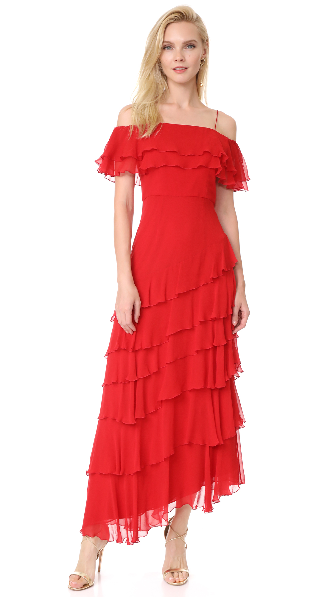 alice + olivia Eloisa Off Shoulder Ruffle Gown - Deep Ruby