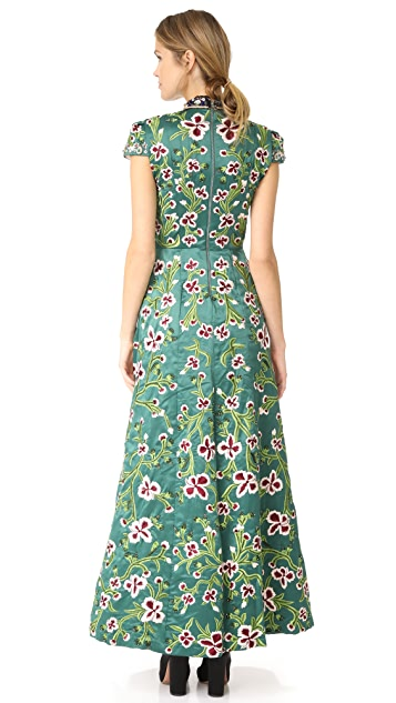 alice + olivia Nidia Embellished Mock Neck Gown
