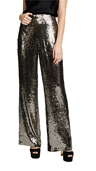 alice + olivia Racquel Sequin Wide Leg Pants In Gunmetal