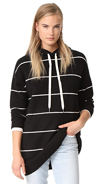 alice + olivia Riva Shawl Neck Hoodie Tunic - Black/White